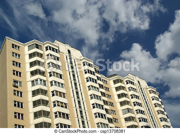 Modern residential high rise building. Moscow, Russia - csp13708381