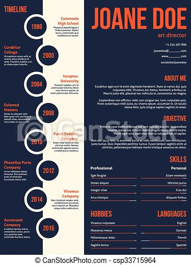 Modern Resume Cv Template Beginning With Timeline Modern Clip - Timeline resume template