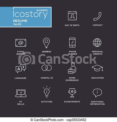 Modern Resume Simple Thin Line Design Icons Pictograms Set Set Of