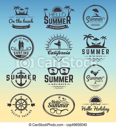 modern retro insignia for summer holidays csp49656040