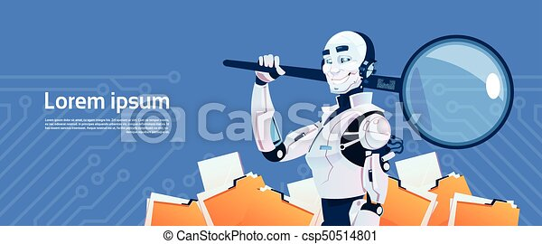 Modern Robot Hold Magnifying Glass Data Search Concept, Futuristic  Artificial Intelligence Mechanism Technology