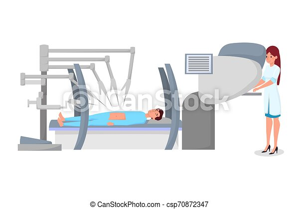Modern robotic surgery flat vector illustration. Young female surgeon and patient under anesthesia characters. Doctor working with computer, controlling surgical robot, high tech equipment - csp70872347
