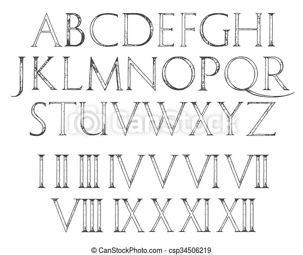 Modern Roman Classic Alphabet With Numbers