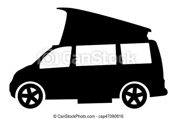 Modern RV Camper Van Silhouette