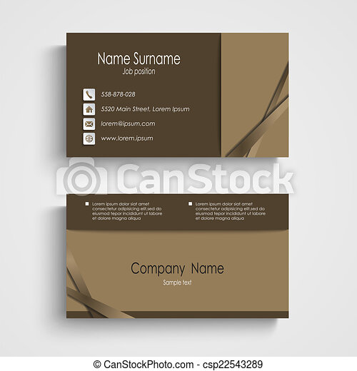 Modern sample brown business card template vector eps 10 modern sample brown business card template csp22543289 cheaphphosting Image collections