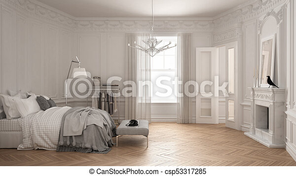 Modern Scandinavian Bedroom In Classic Vintage Living Room With Fireplace Luxury White Interior Design Canstock