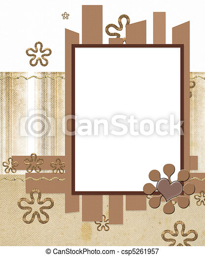 modern scrapbook layout photo frame and flowers - csp5261957