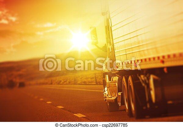 Modern Semi Truck in Motion - csp22697785