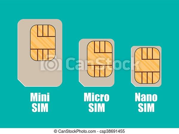Modern sim card sizes, mini, micro, nano. vector ...