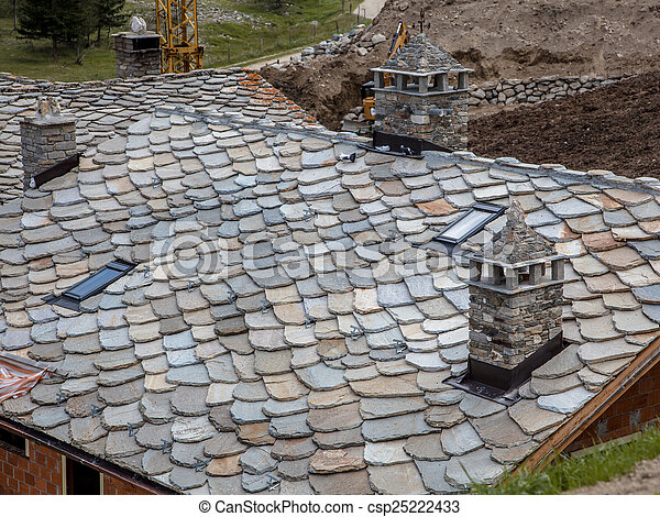 Modern Slate Tile Roof Schist Roof Tiles Being Installed