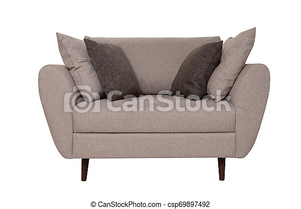 Modern small grey fabric sofa with pillows isolated on white background.  Strict style furniture