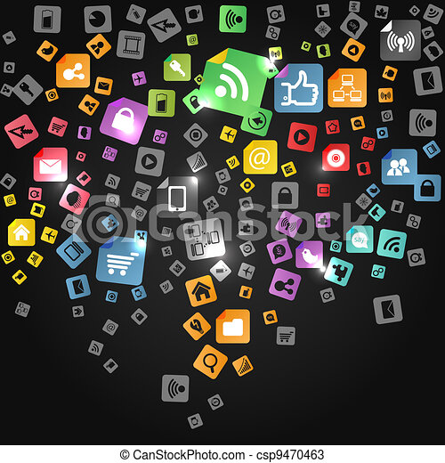 Modern social abstract media icons falling down - csp9470463