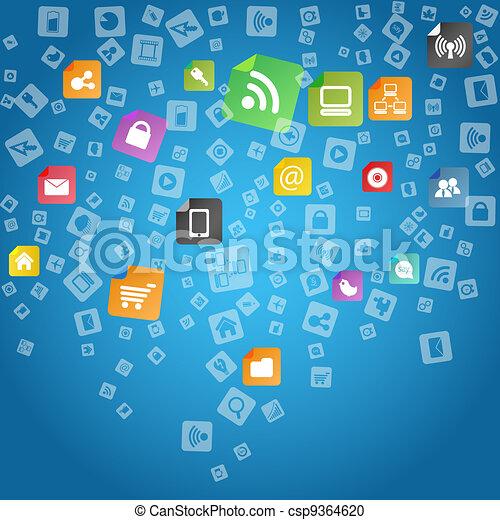 Modern social abstract media icons falling down - csp9364620