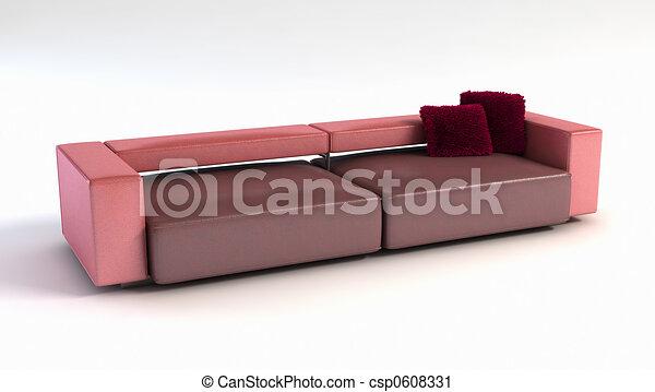 modern sofa 3D rendering - csp0608331