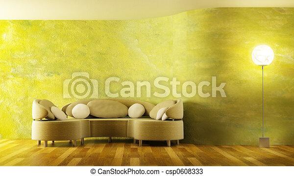 modern sofa 3D rendering - csp0608333