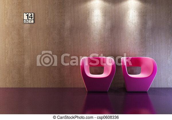 modern sofa 3D rendering - csp0608336