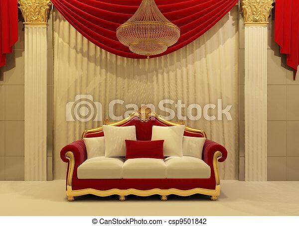 modern sofa in royal interior - csp9501842