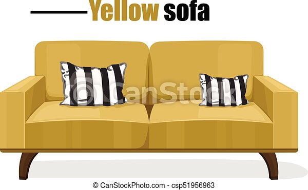 Modern sofa isolated on white background Vector templates. Yellow upholstery