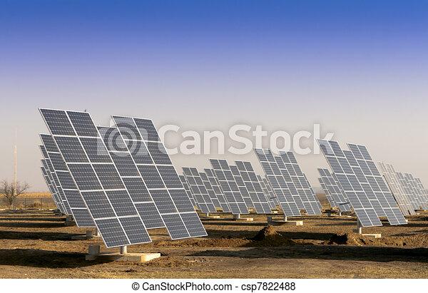 Modern solar power plant in the sunny plain. - csp7822488