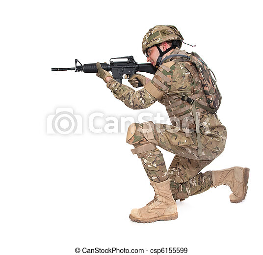 Modern soldier with rifle  - csp6155599