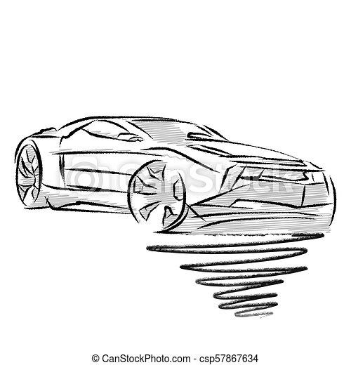Modern Sports Car Drawing Study Hand Drawn Vector Illustration