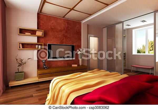 modern style bedroom interior 3d rendering csp3083062