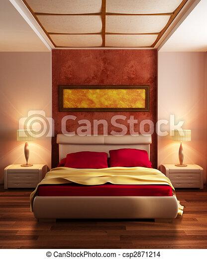 Modern style bedroom interior 3d rendering.