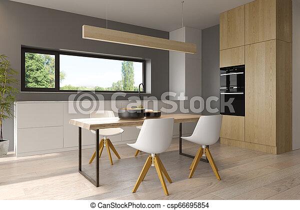 Modern style interior design 3D rendering - csp66695854
