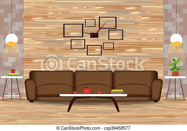 modern style interior design vector illustration.sofa in vectors