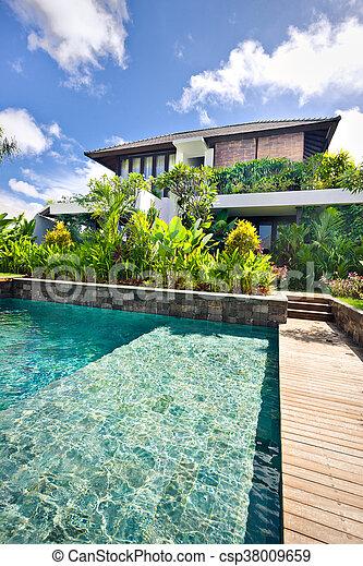 Modern Swimming Pool With Plants In A Modern Hotel Garden Modern