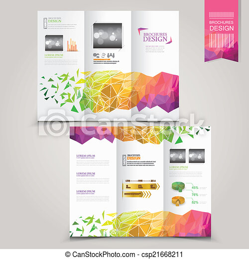 modern template for advertising concept brochure with geometric  - csp21668211