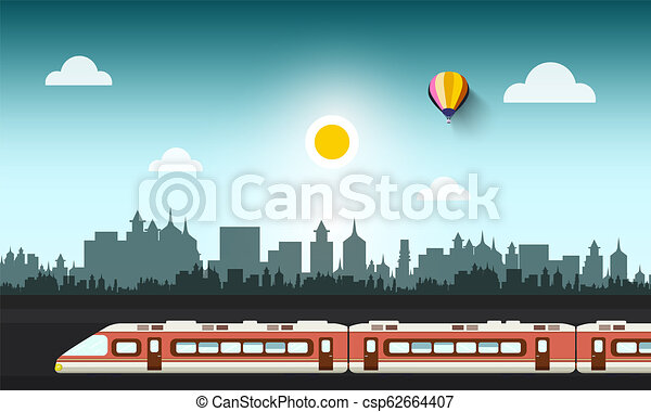 Modern Train in Abstract City - csp62664407