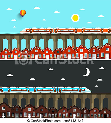 Modern Train on Bridge above City with Houses. Night and Day Landscape Vector Illustration. - csp61481647