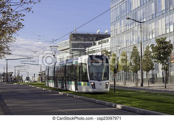 Modern tram in Paris - csp23097971