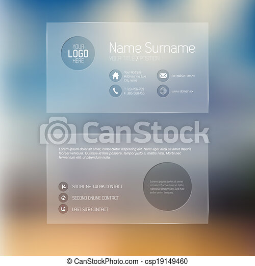 Modern transparent business card template modern simple clip art modern transparent business card template csp19149460 fbccfo Image collections