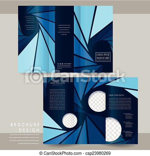 modern tri fold brochure template design in blue