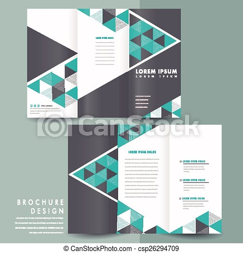 modern tri fold brochure template design with triangle mosaic