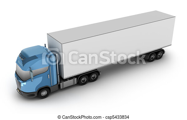 Modern truck with cargo container  - csp5433834