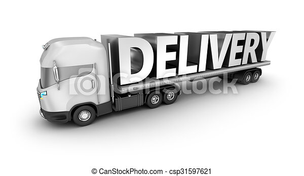 Modern truck with delivery word, isolated. My own truck design. - csp31597621