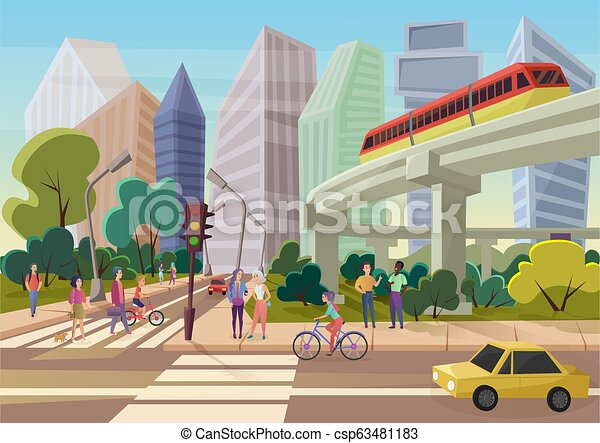Modern urban cartoon city street with young people walking vector illustration. - csp63481183