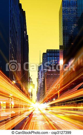modern urban city at night time - csp3127399