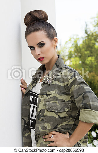 Modern Urban Girl Posing In Outdoor Fashion Shoot With Casual