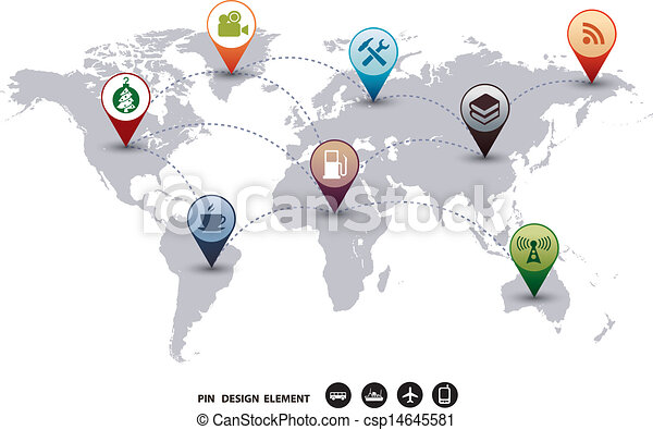 Modern vector design world mapping pins icon t of map vector modern vector design world mapping gumiabroncs Gallery