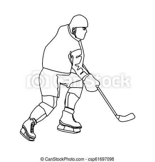 Modern vector hockey logo. logo for hockey team. silhouette of a hockey player on the white background illustration - csp61697098