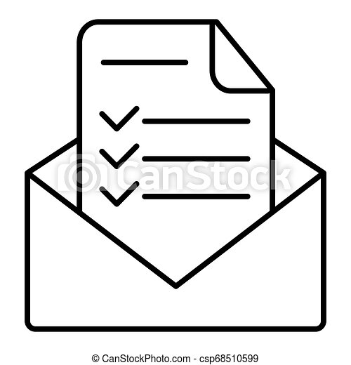 Modern vector icon of confirmation letter, approved document and e-mail checklist. Flat line icon symbol. Flat design image isolated on white background. - csp68510599