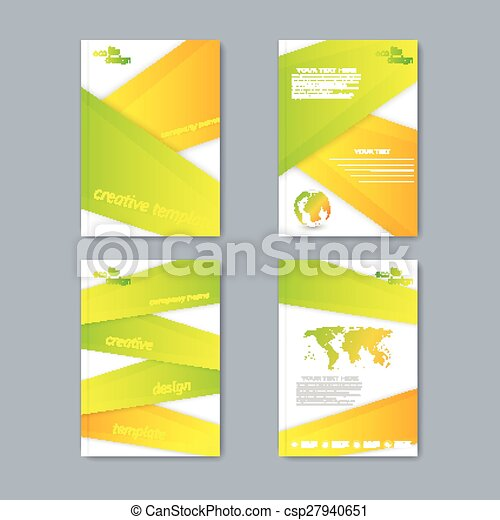 Modern vector set of brochures in the ecology style for your design - csp27940651