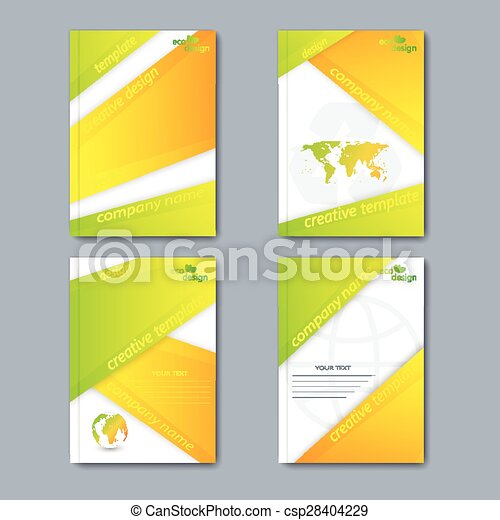 Modern vector set of brochures in the ecology style for your design - csp28404229