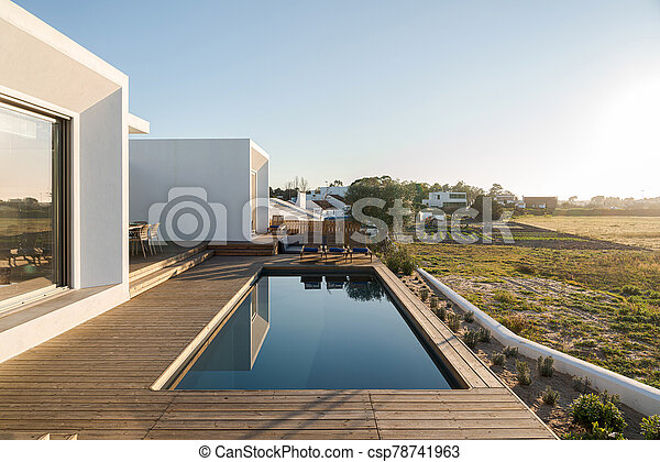 Modern Villa With Pool And Deck Swimming Pool With Wooden Deck View On Modern Villa Canstock