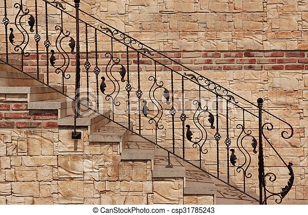 Modern Vintage Style Stone Staircase With Wrought Iron Ornate Handrail    Csp31785243