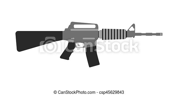 Line Art Illustration Style : Modern weapons rifle. flat style equipment. isolated eps